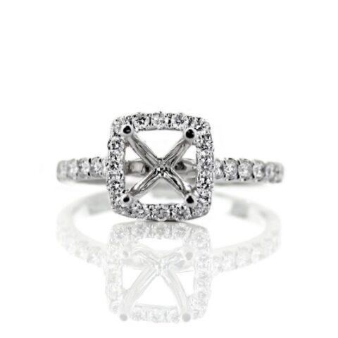 18 Karat White Gold Cushion Halo Engagement Ring