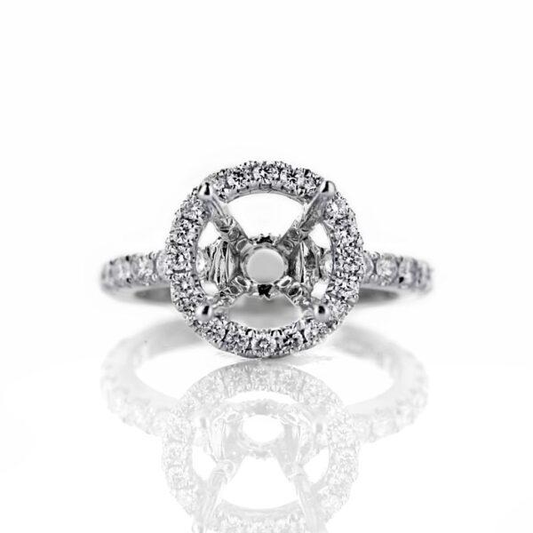 18 Karat White Gold Round Halo Engagement Ring