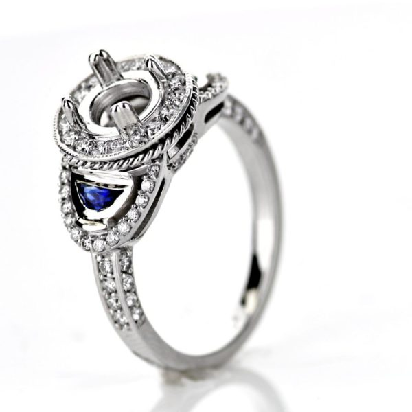 Round halo Engagement ring with sapphires